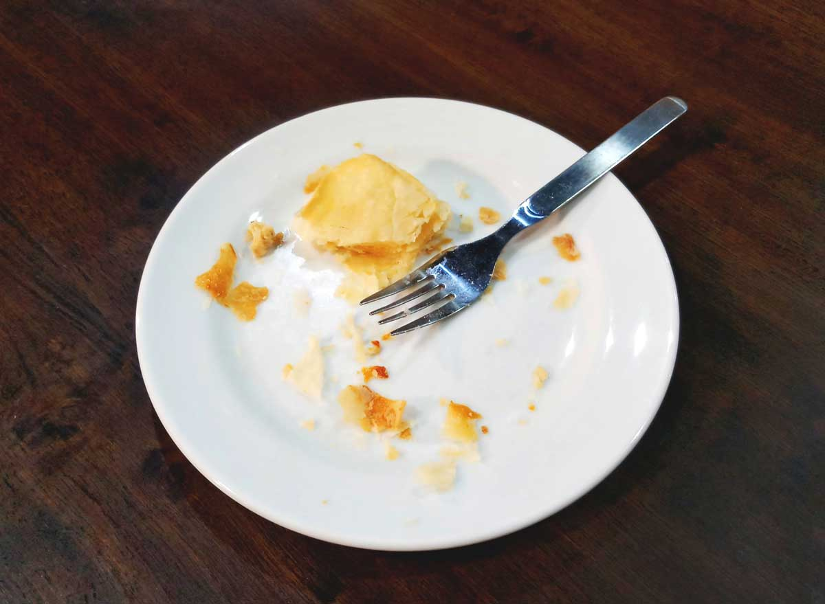 Leftover pie dessert on plate