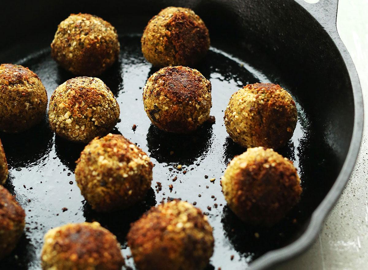 lentil meatballs in cast iron skillet