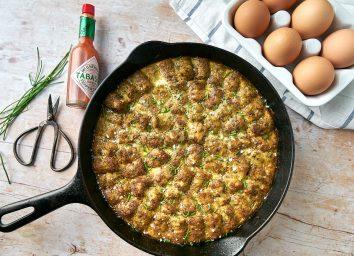 plant based lentil kale tots casserole in skillet