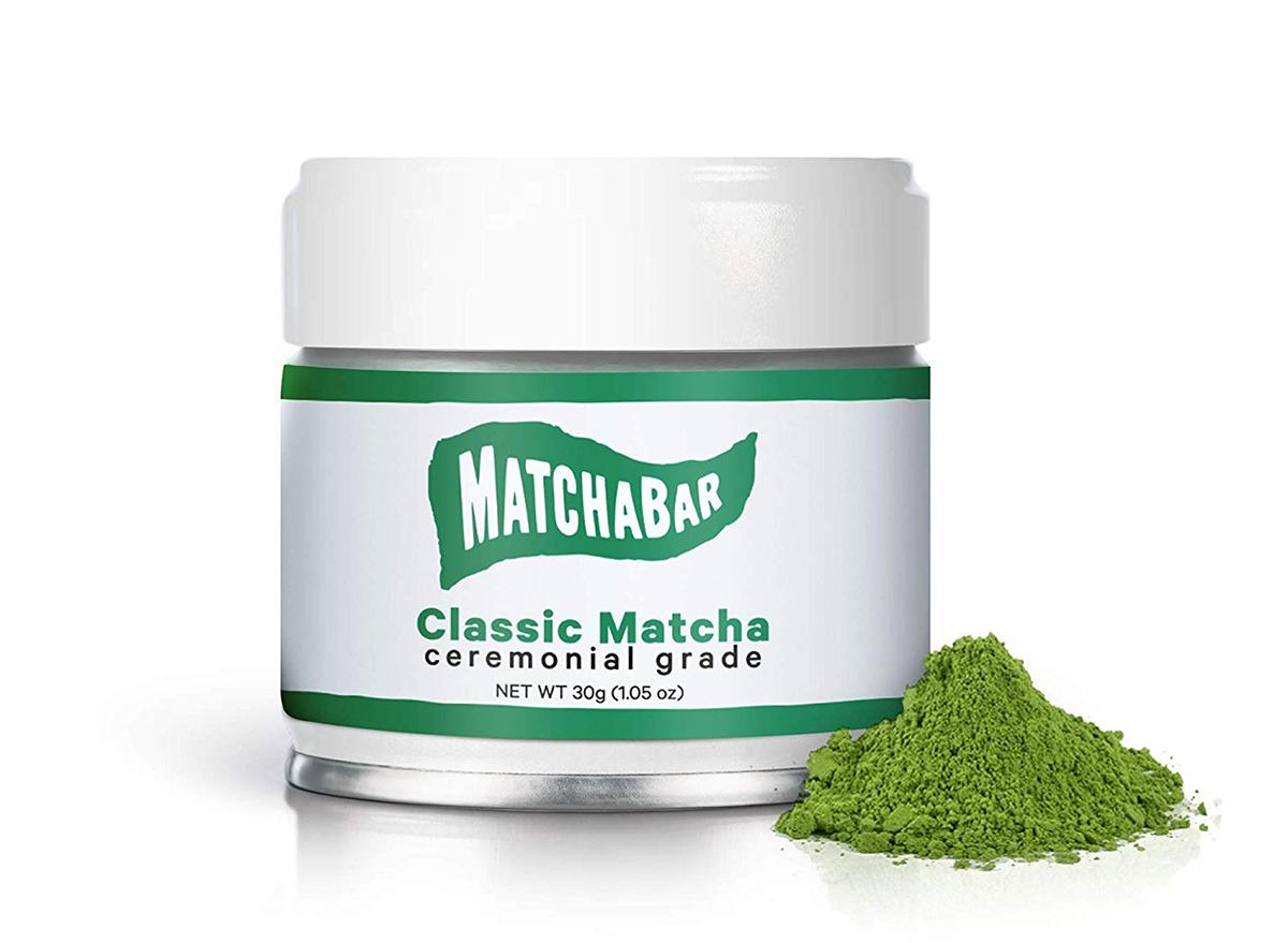 container of matchabar ceremonial grade matcha