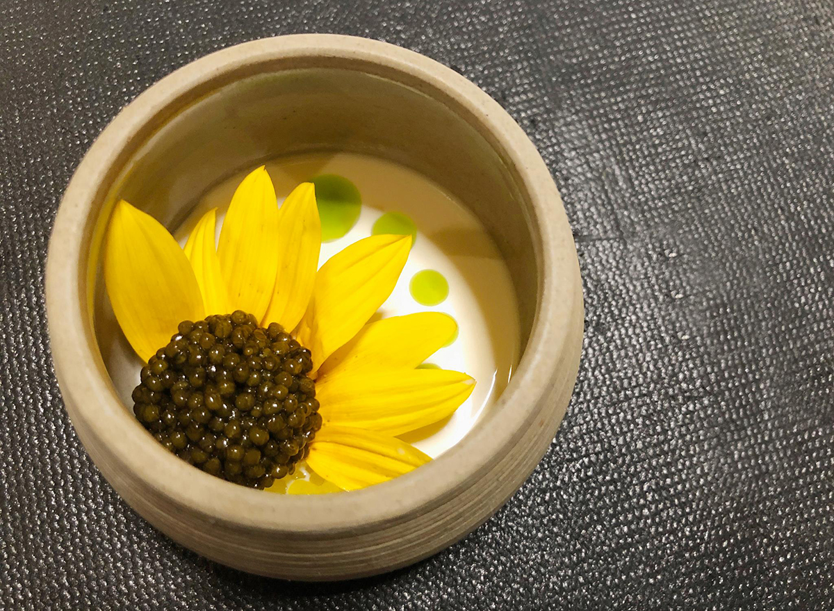 caviar in shape of sunflower