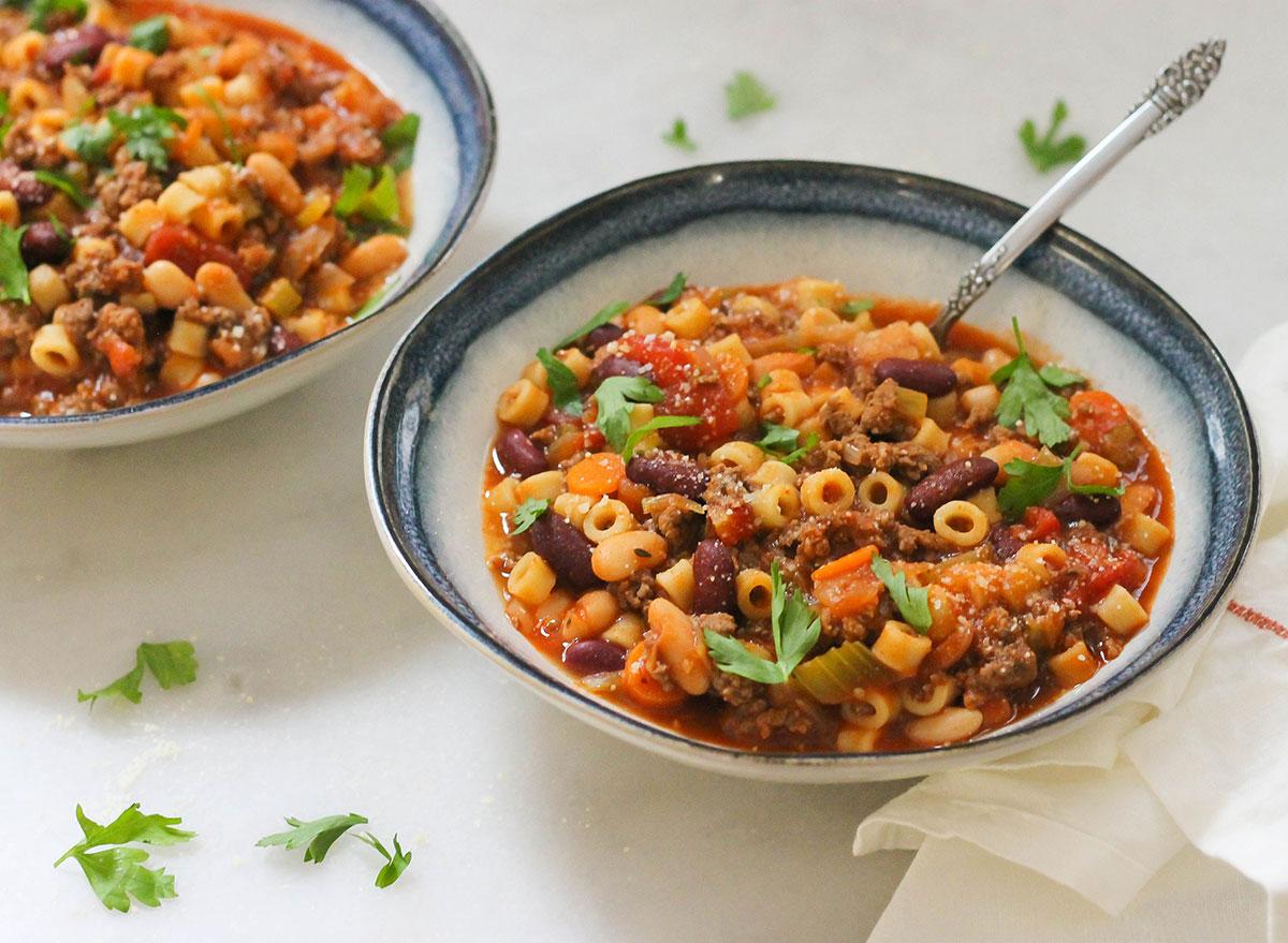 Close up of a bowl of copycat pasta fagioli