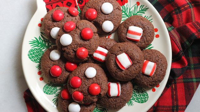 peppermint chocolate cookies on a holiday plate