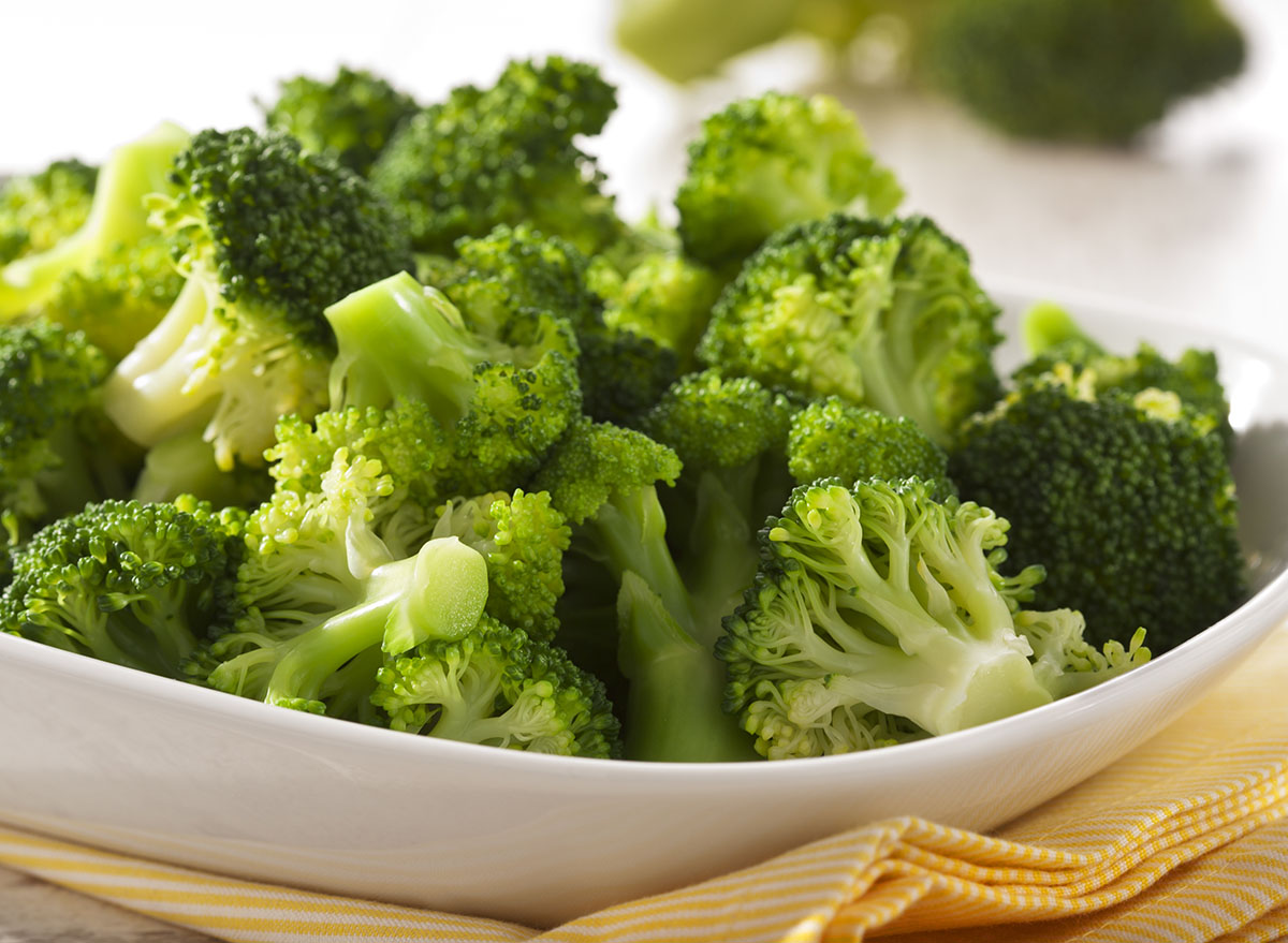 plain roasted broccoli in white bowl