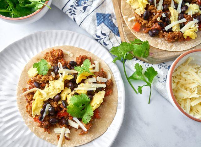 plant based breakfast burrito on white plate