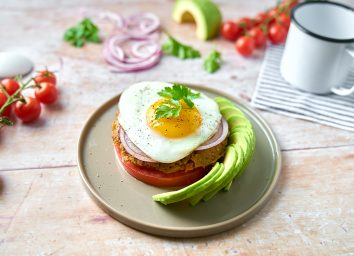 plant based california veggie burger with egg