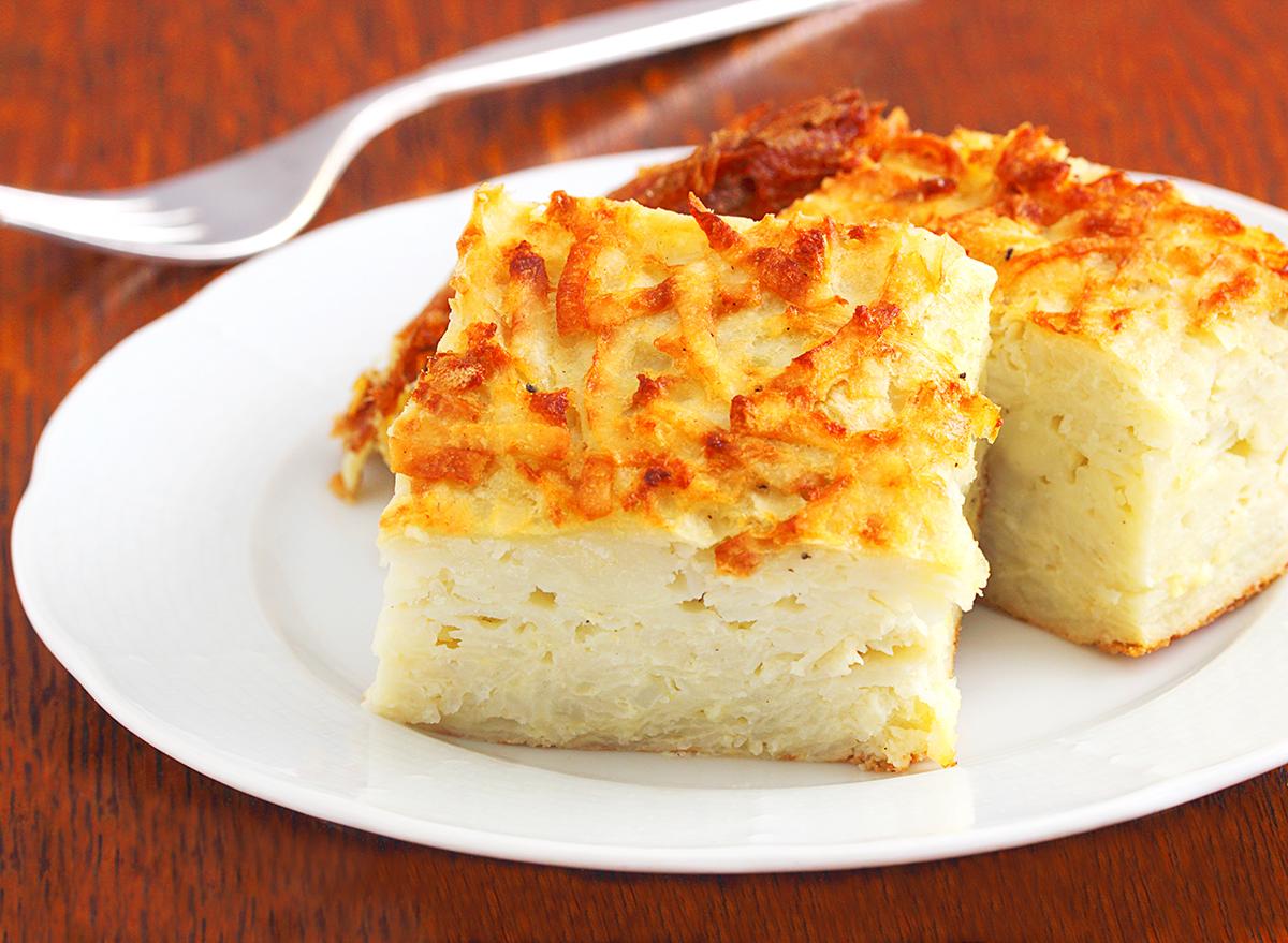 potato kugel squares on plate