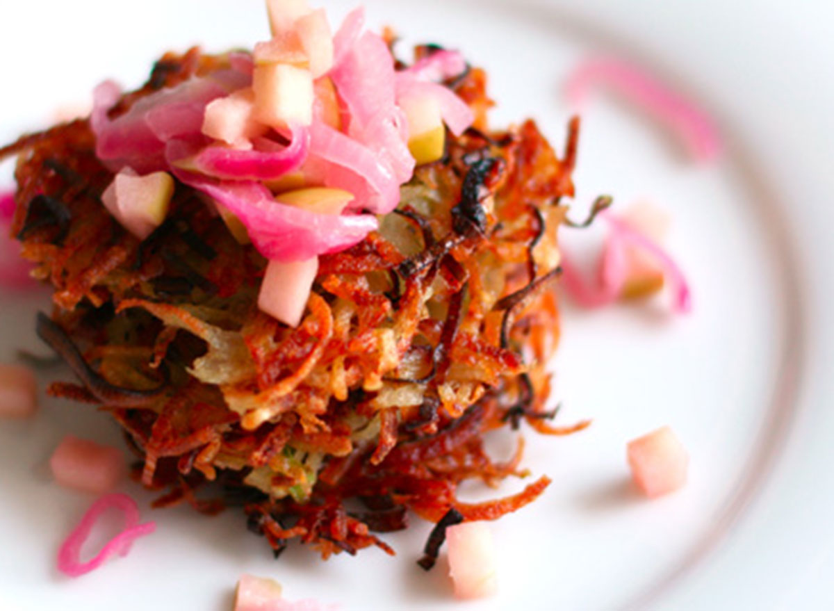 potato leek pancakes with red onion apple compote