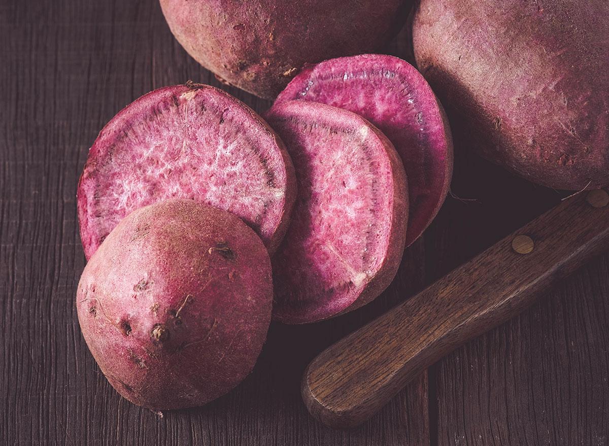 Sliced purple sweet potato
