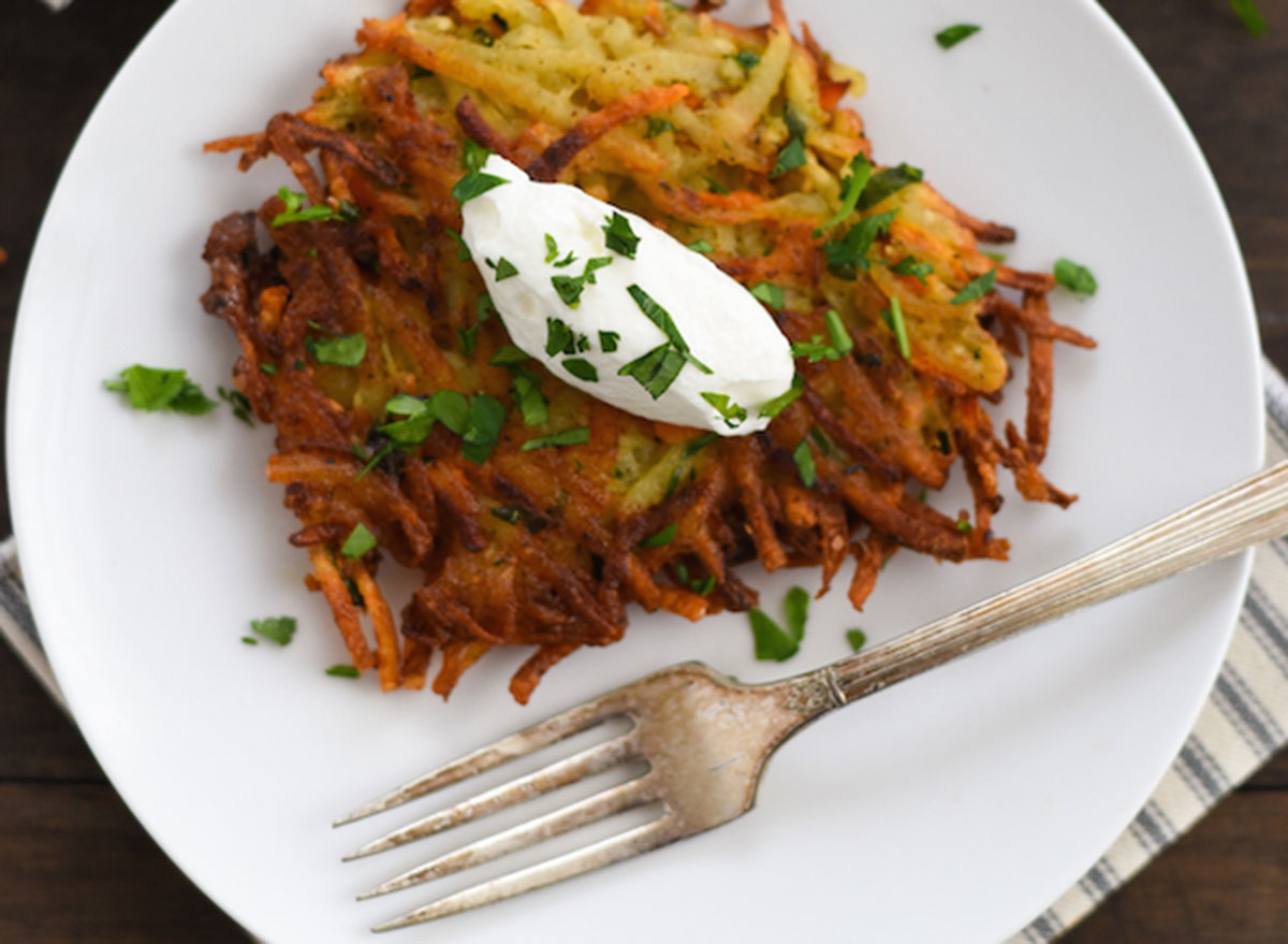 spiced potato and carrot latkes