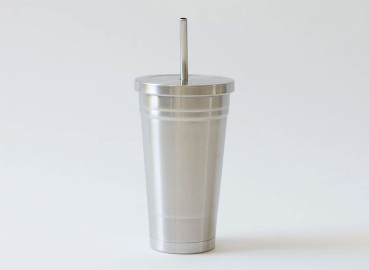 stainless steel tumblr with straw