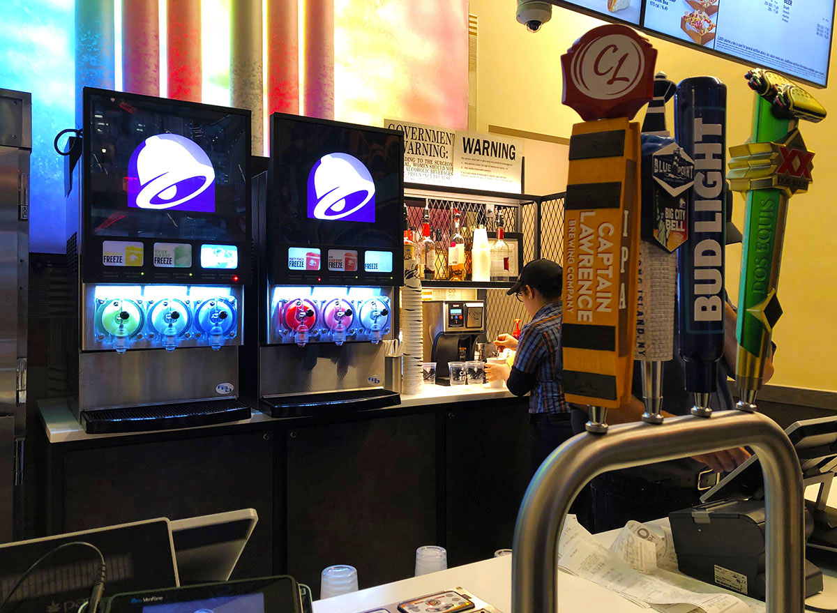 taco bell cantina bar counter with taps