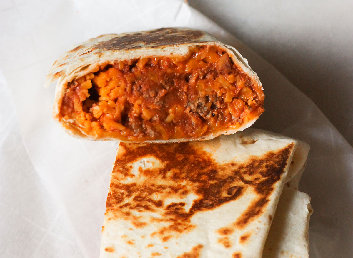 Looking inside a copycat Taco Bell chili cheese burrito