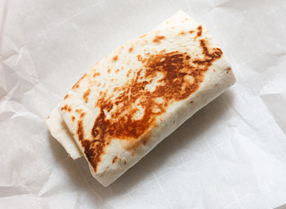 Top of a pressed Taco Bell chili cheese burrito