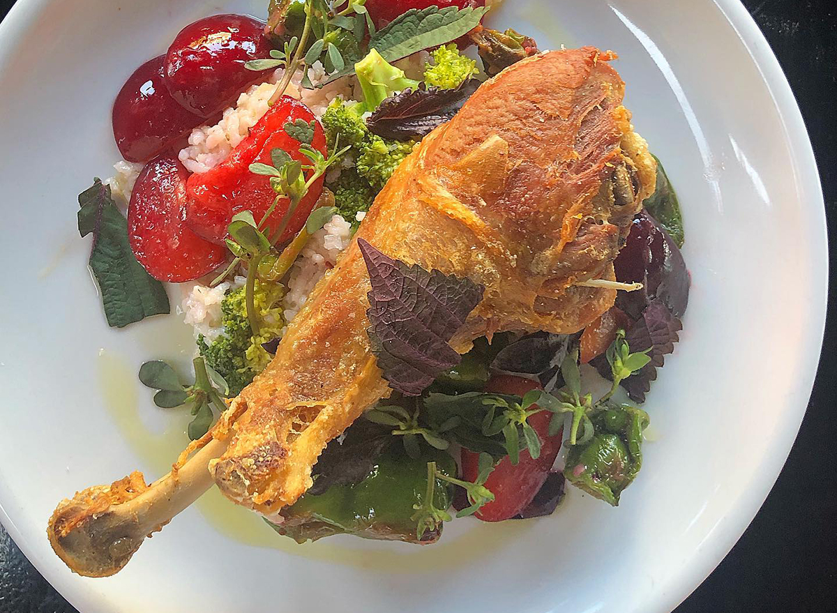 turkey leg on top of salad