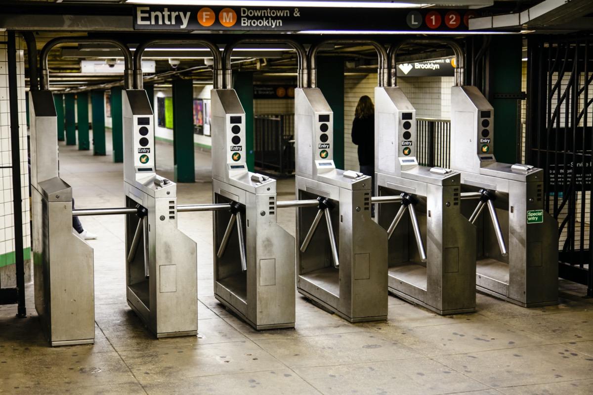 Turnstiles (baffle gates) in a New-York subway station.