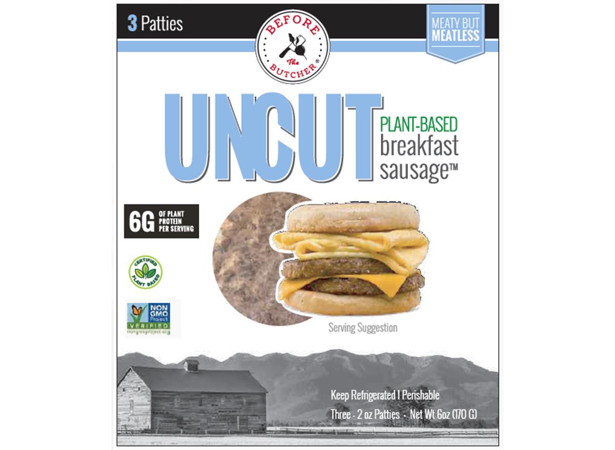 uncut breakfast sausage packaging