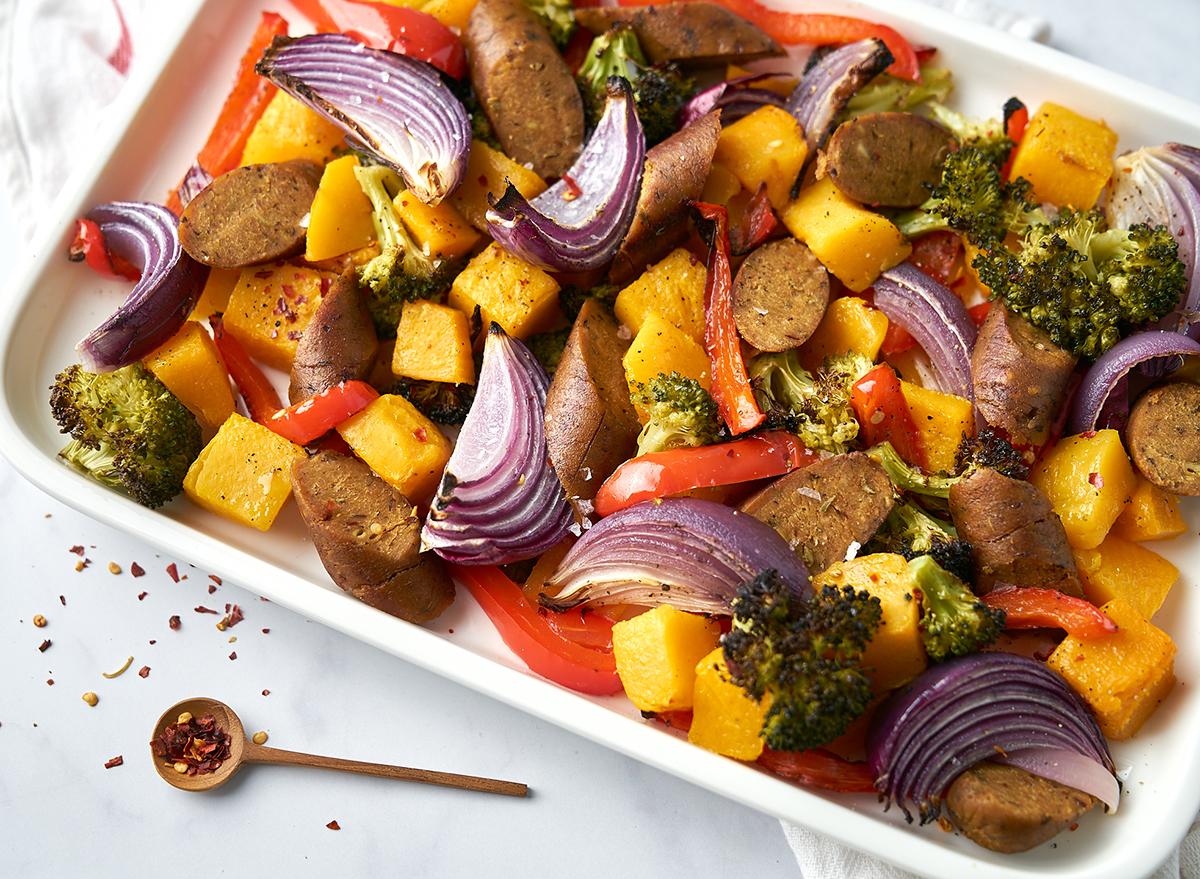 vegan sausage sheet pan