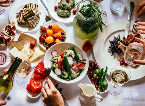 Vegetarian plant-based dinner at a restaurant