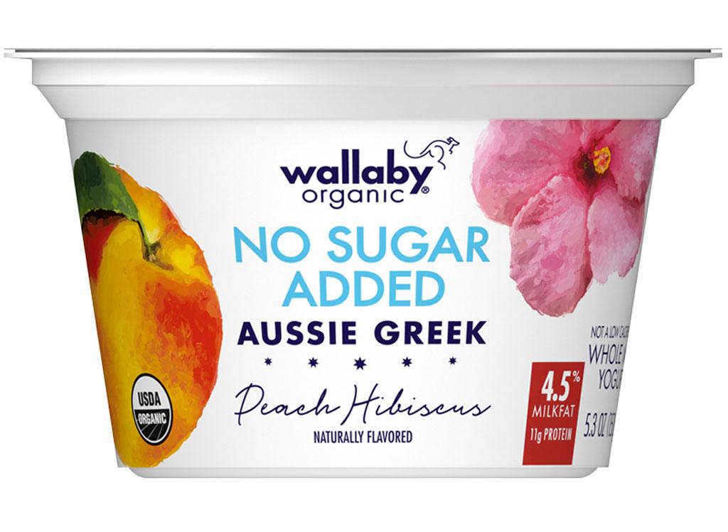 Wallaby aussie greek whole milk peach hibiscus no sugar added
