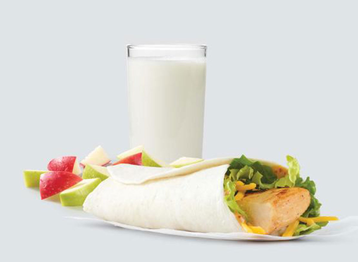 wendys chicken wrap with apples and milk