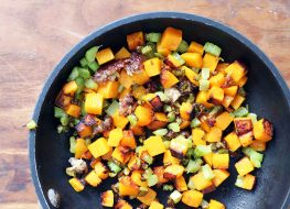 bowl of butternut squash hash with celery