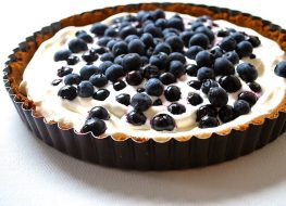 whole30 coconut fruit tart with blueberries