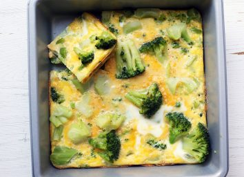 whole30 veggie casserole with slice popped out