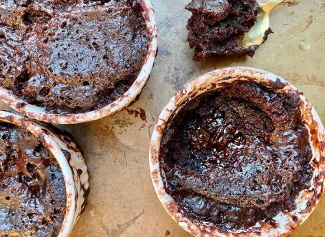 Whole30 instant pot chocolate pudding cakes in ramekins on table