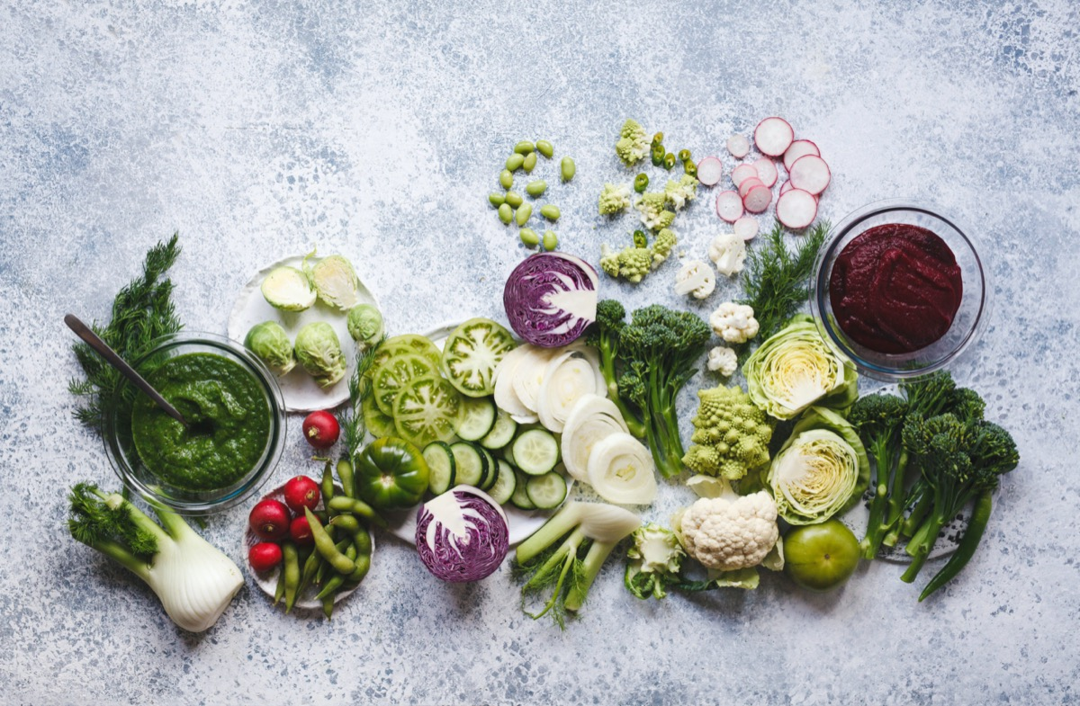 Plant based raw food vegan food cooking background