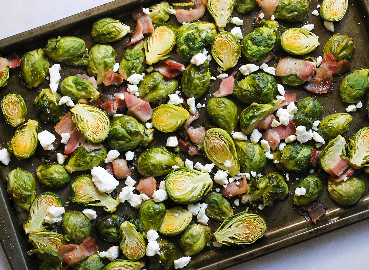 brussels sprouts with bacon and feta