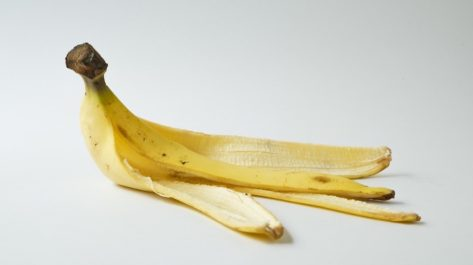banana peel set on a white background