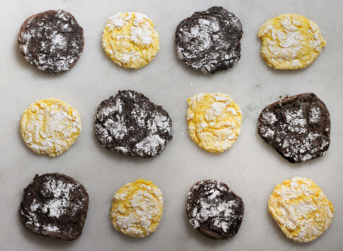 finished chocolate and lemon cake cookies on a marble counter