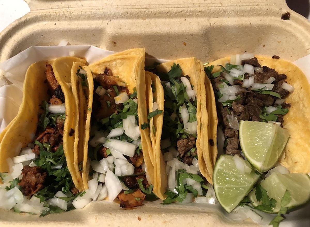 four carne asada tacos