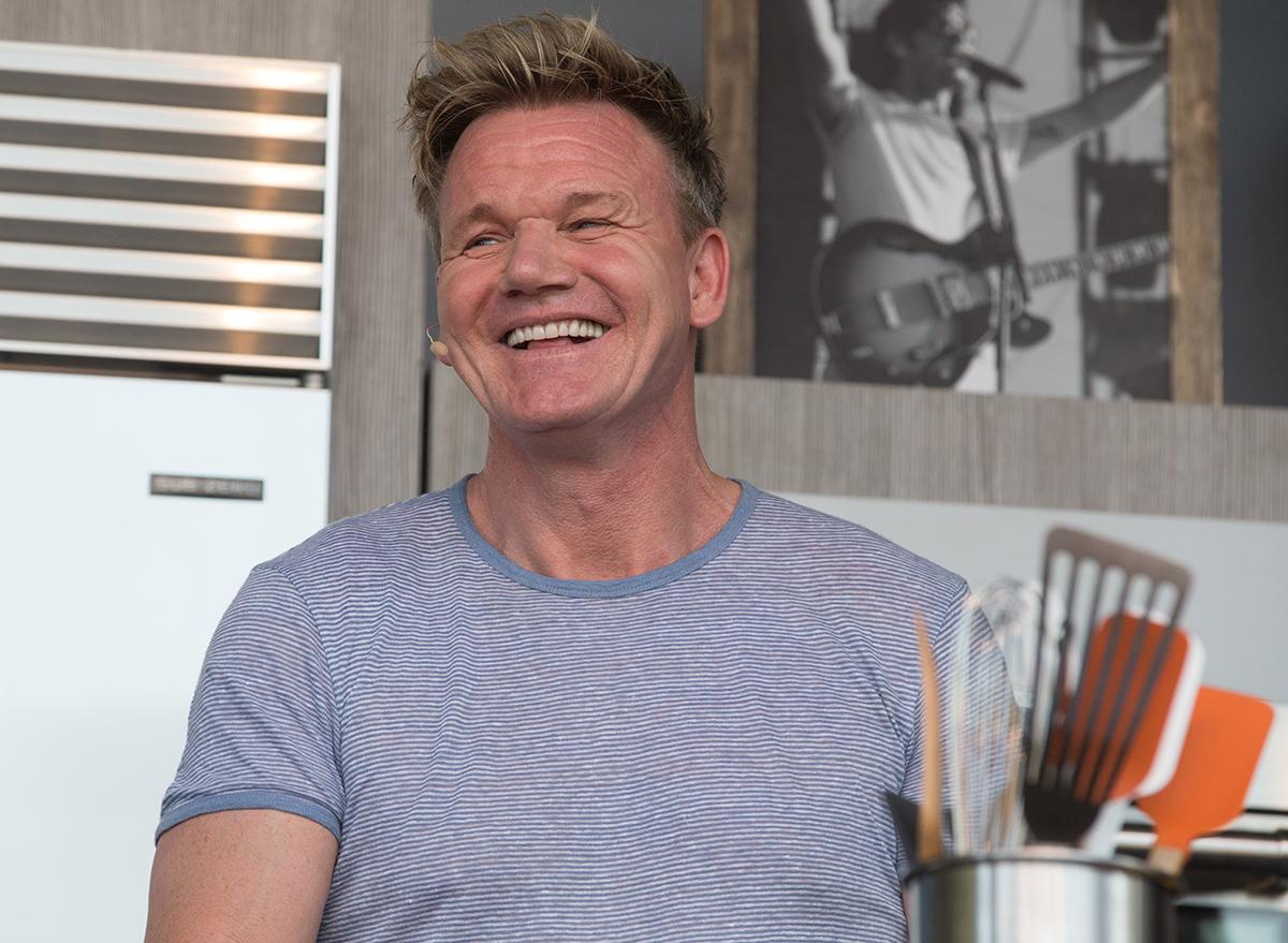 chef gordon ramsey standing in kitchen