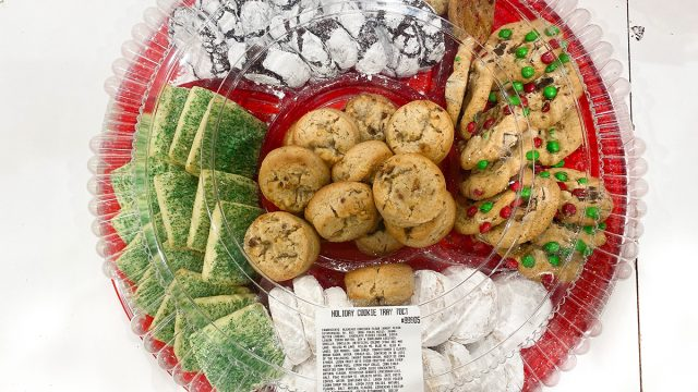 tray of costco holiday cookies