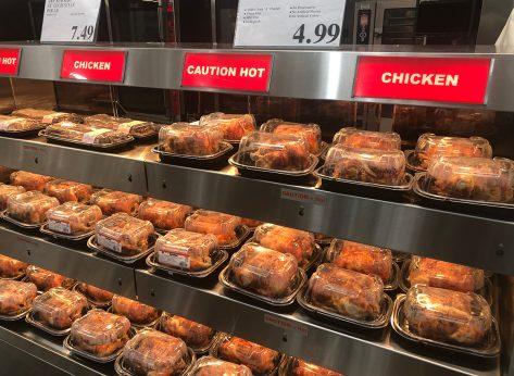 rows of costco rotisserie chicken