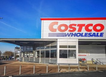 a costco storefront on a cold bluebird winter day