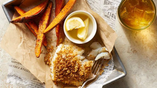 crispy cod with sweet potato fries in a basket