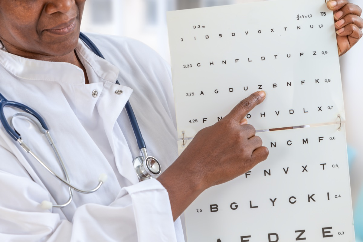 ophthalmologist checking eyesight, showing letters on chart, focused vision