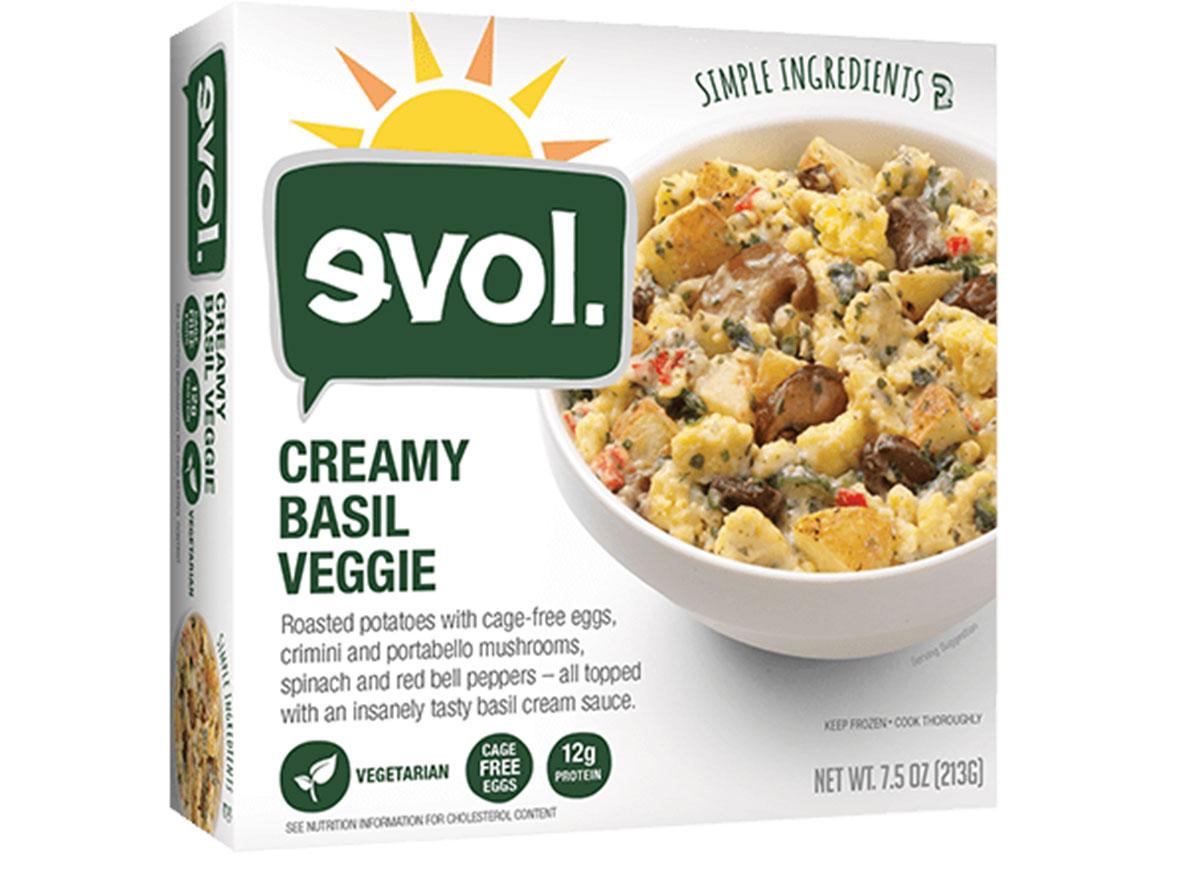 evol creamy basil veggie frozen meal