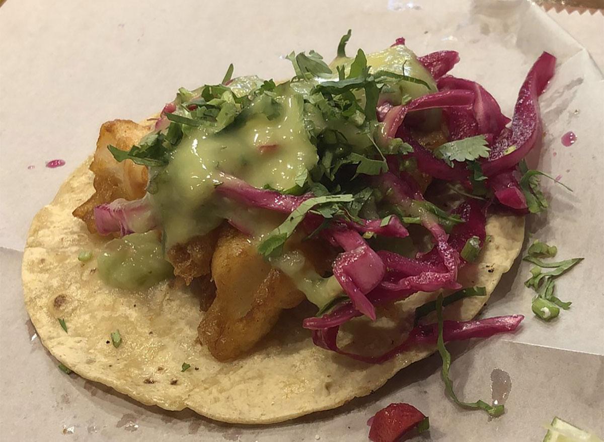 open faced fish taco