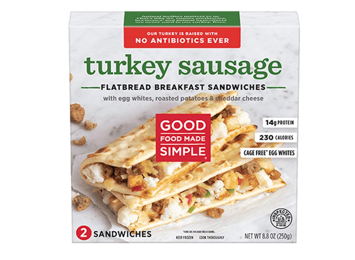 good food made simple turkey sausage flatbread