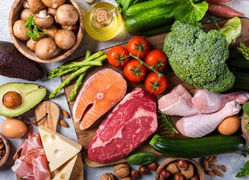 grain free diet with meats, fishes and vegetables