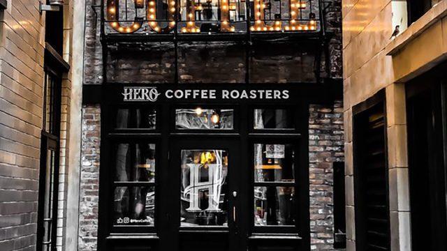 hero coffee bar in chicago exterior door and sign