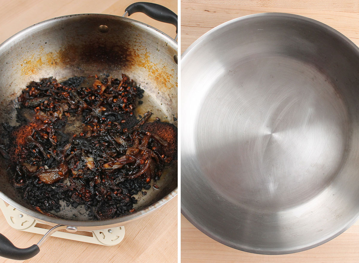 comparing a burnt pot and a clean pot after cleaning it