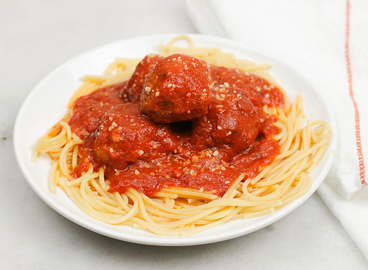 close up of Italian meatballs plate