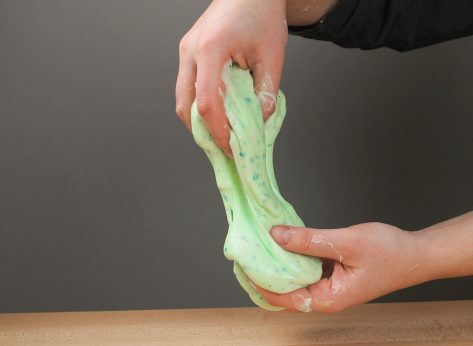 pulling slime with hands