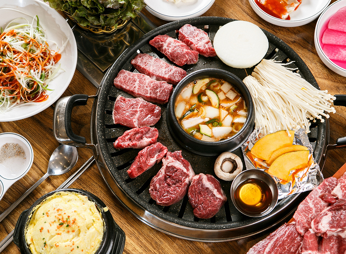 korean bbq grill with vegetables and garlic