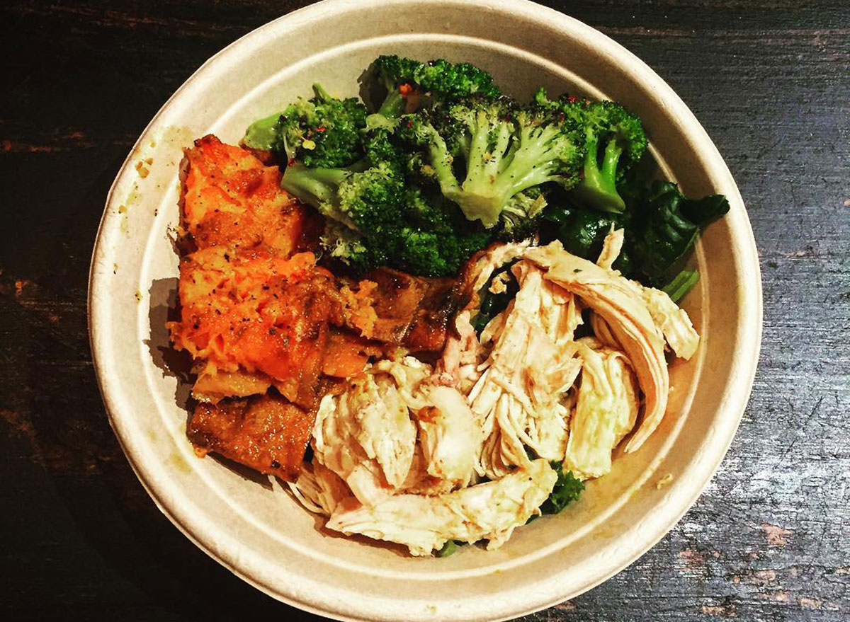 bowl of chicken and vegetables on whole30
